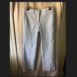 J.Crew Seersucker Pants — Blue/White (Size 12)